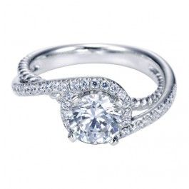 14K White Gold Halo Bypass Carved Engagement Ring Wedding Day Diamonds