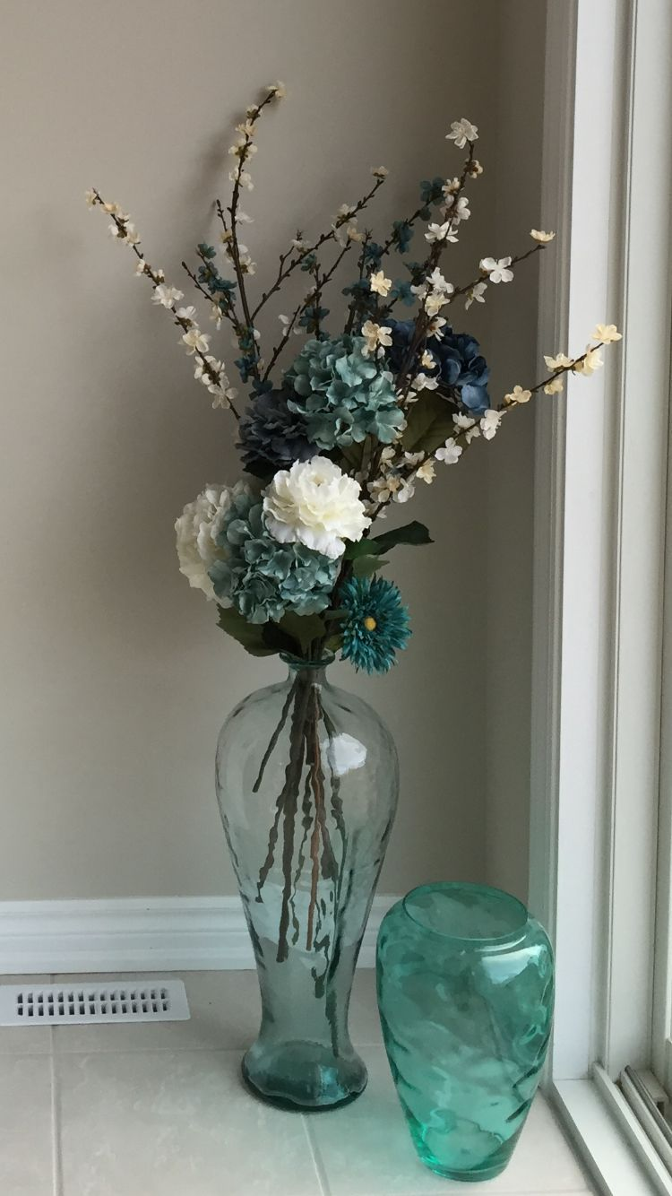 Sea Glass Floor Vase With Flowers Glass Vase Decor Floor Vase Decor Glass Floor Vase