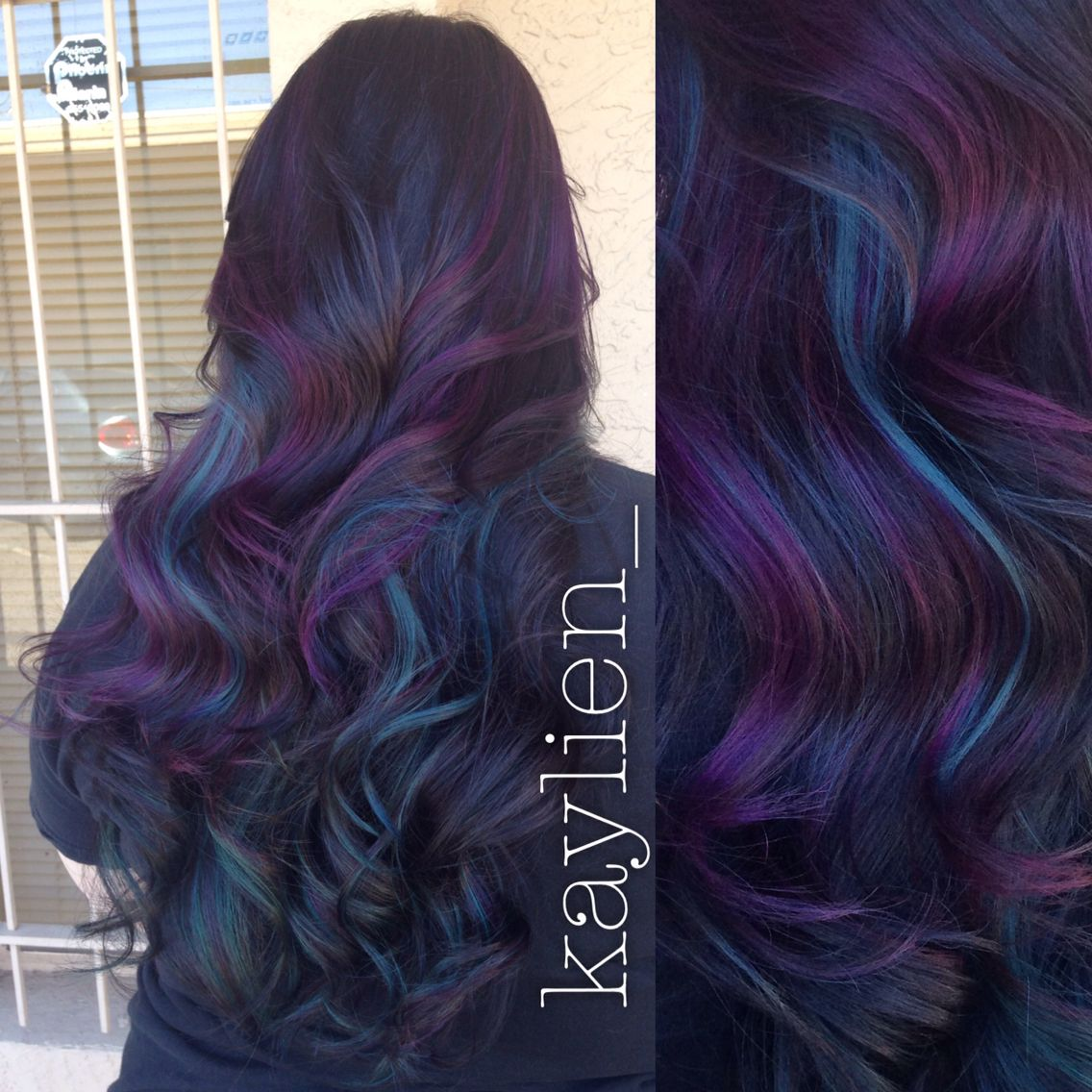 Peacock Hair Teal And Purple Peekaboos With Deep Deep Violet Brown Base Peacock Hair Color Peekaboo Hair Hair Color Purple