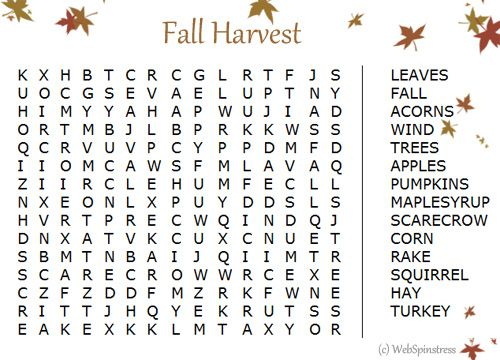 Free Printable Fall Word Search | clip art | Pinterest | Fall word ...