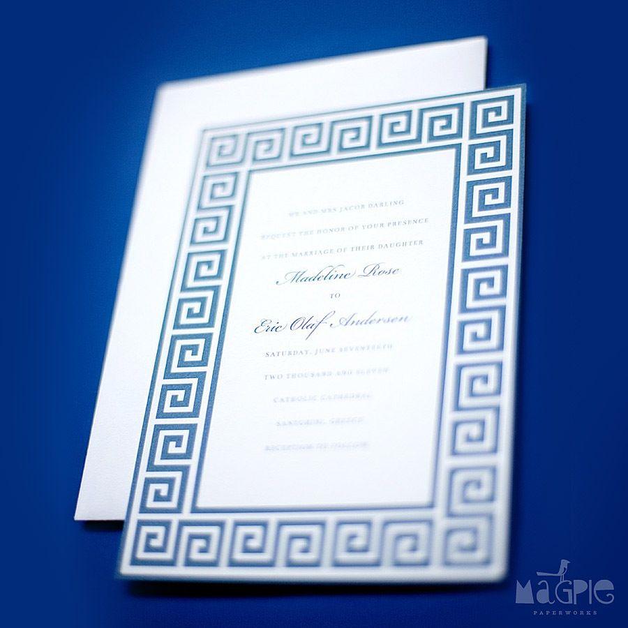 Greek Key Border On Wedding Invitation From Magpie Paper Works Dun