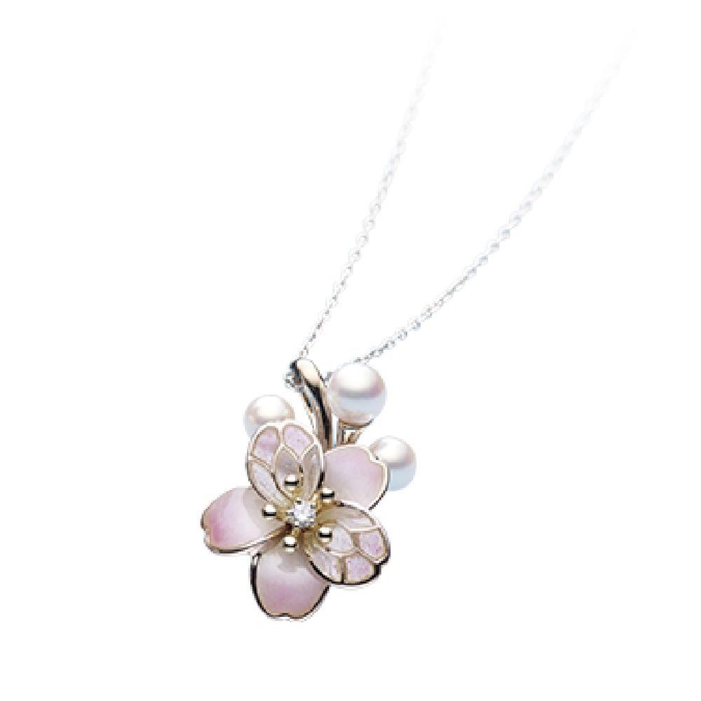 MIKIMOTO Cherry Blossoms Akoya Pearls Diamond Pendant Necklace from Japan  NEW