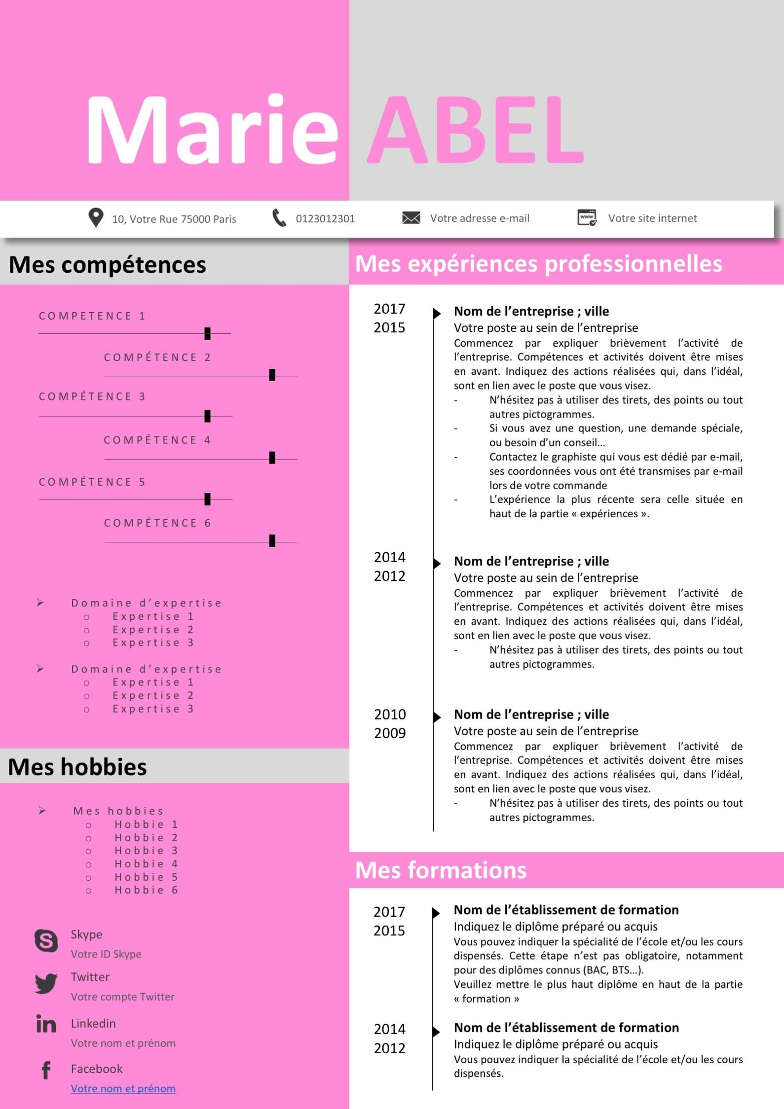 cv rose  cv pictogramme  cv chronologie  cv original  beau cv  cv design  cv graphiste  cv