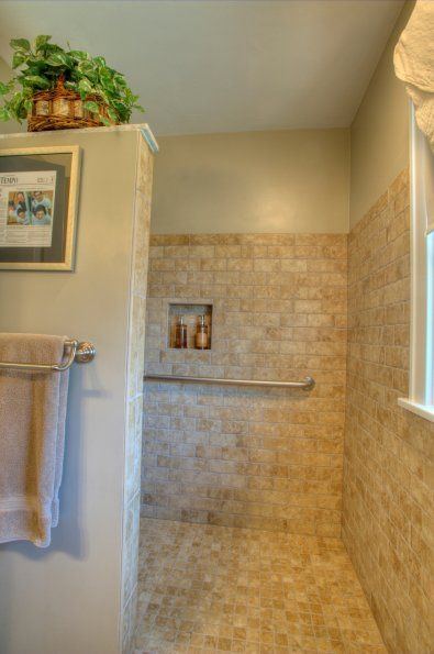 Master Bathroom No Door walk-in shower stall design | showers without doors with
