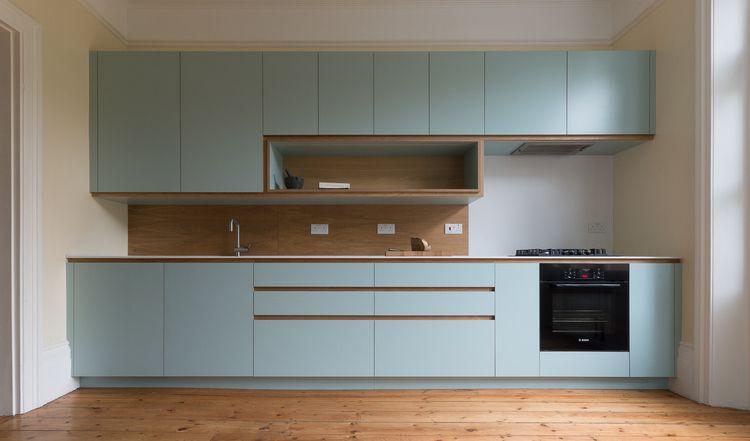 Bespoke Kitchen In Custom Laminated Birch Ply With Corian Work