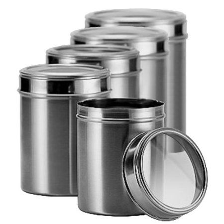 Amazon Com Matbah Stainless Steel 5 Piece Canister Set With Clear Lid Kitchen Din Stainless Steel Canister Set Stainless Steel Canisters Glass Canister Set