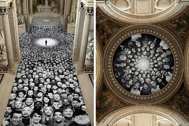 L'artiste JR rhabille le Panthéon de 4000 portraits d'anonymes