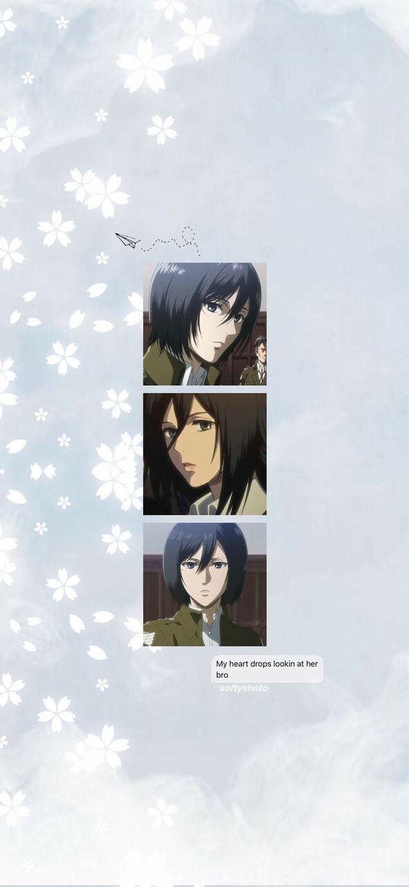 Aot Lockscreen Mikasa Ackerman Aesthetic Anime Background Aot Wallpaper Mikasa Anime Wallpaper iphone aesthetic mikasa