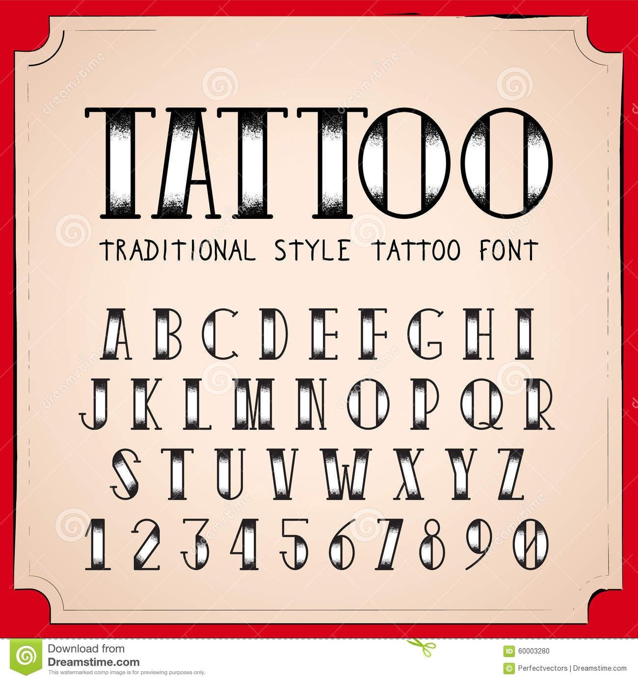 Mooring font old school tattoo typeface with free vector