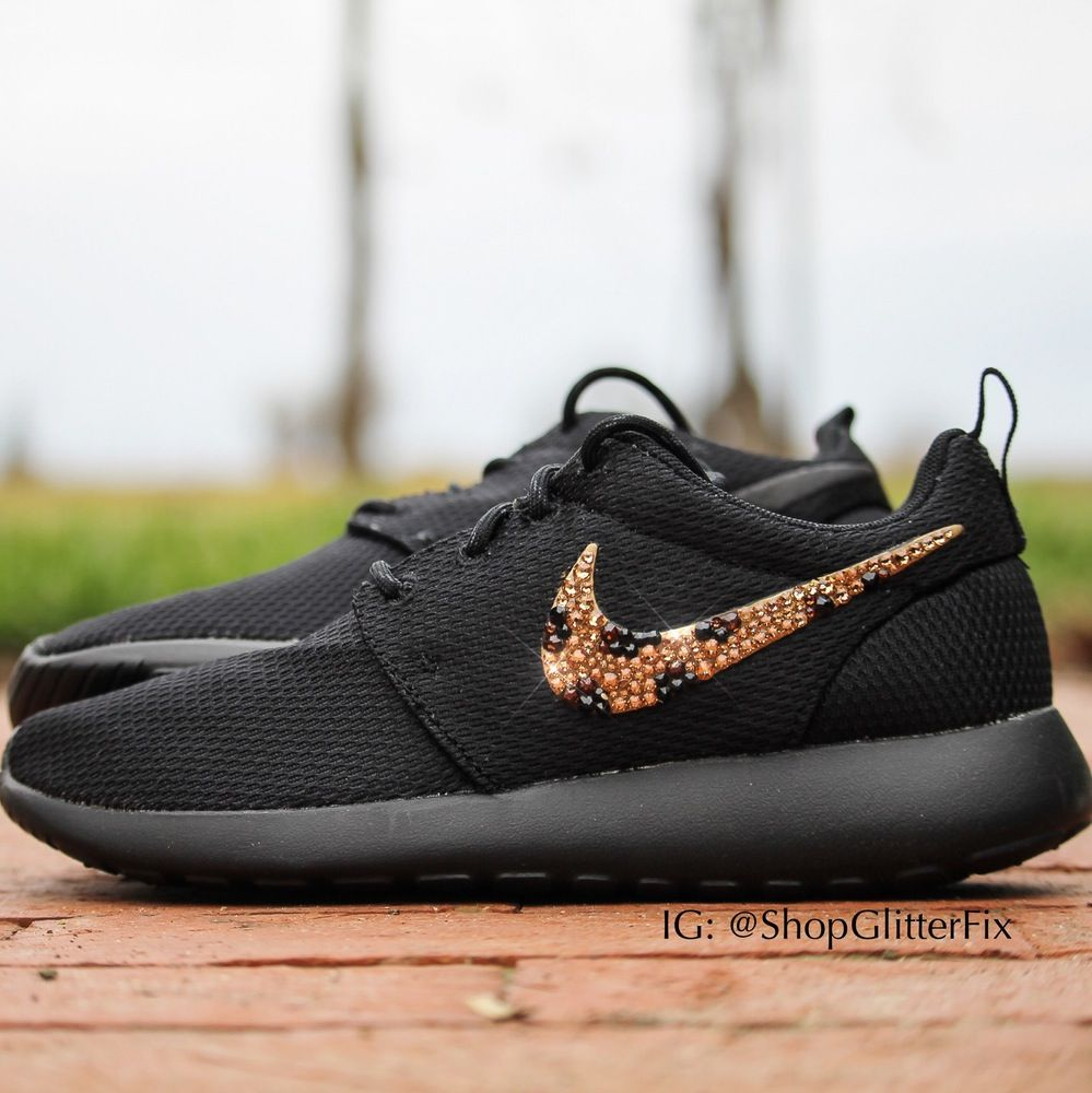 af74d9736701 Women s Nike Roshe adorned with hand placed Swarovski Rhinestones in a Leopard  print.