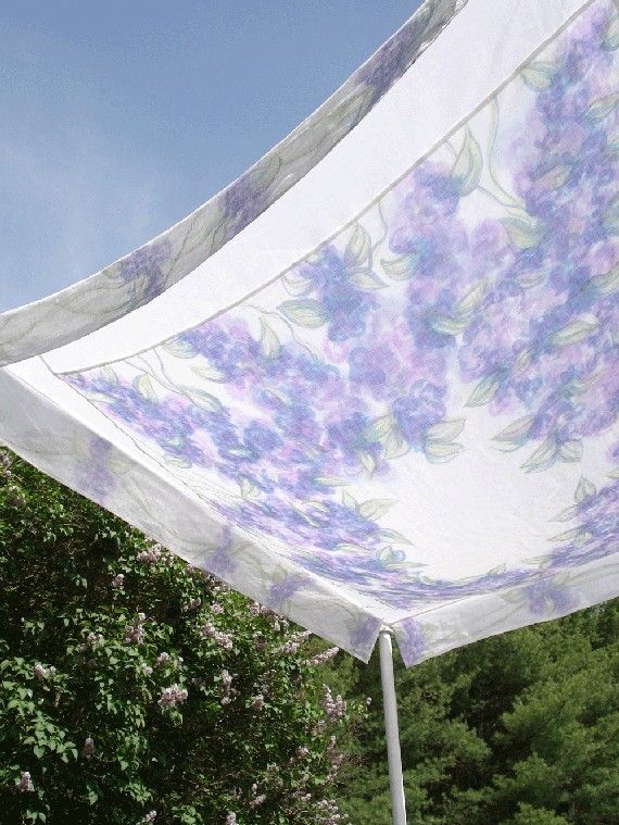 hand painted linen chuppahLilacs by PatriciaBurleson on Etsy, $500.00