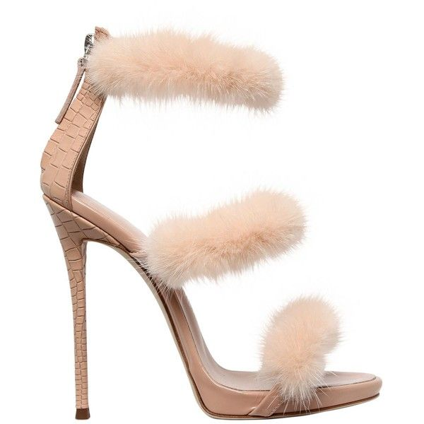 Super Sale Giuseppe Zanotti Design 120mm Harmony Mink Leather Sandals Women Shoes Blush