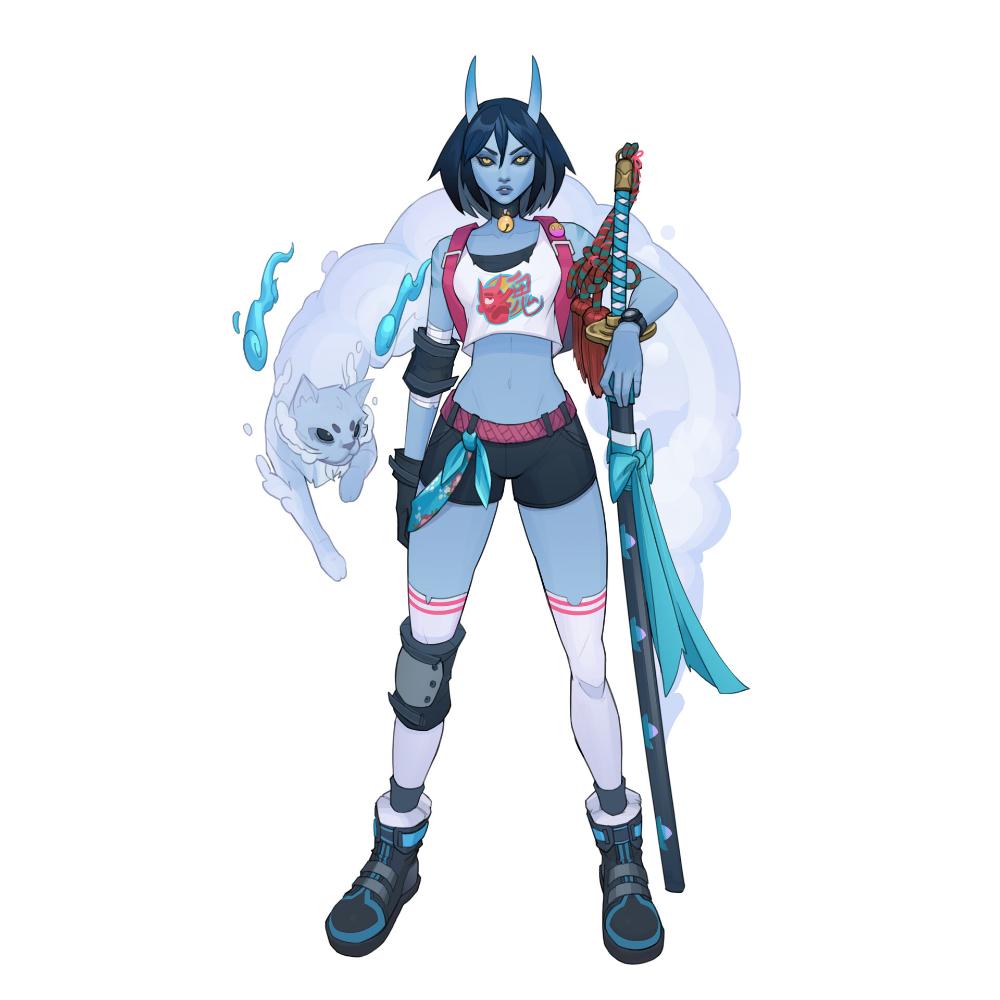 ArtStation Azura Blue Oni, Anson Tan in 2020 Female