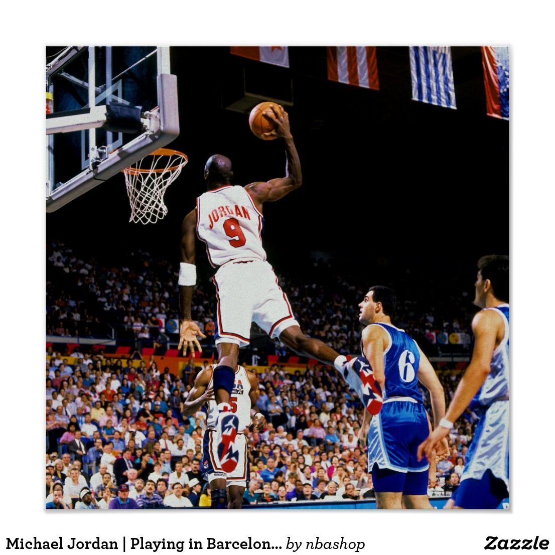 check out 76eb9 810d0 Michael Jordan | Playing in Barcelona Print | Zazzle.com ...
