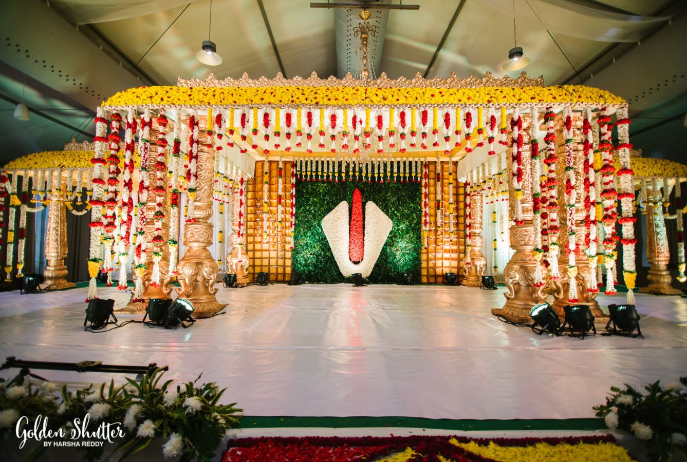 Beautiful Stage Decor For South Indian Wedding Flower Garland