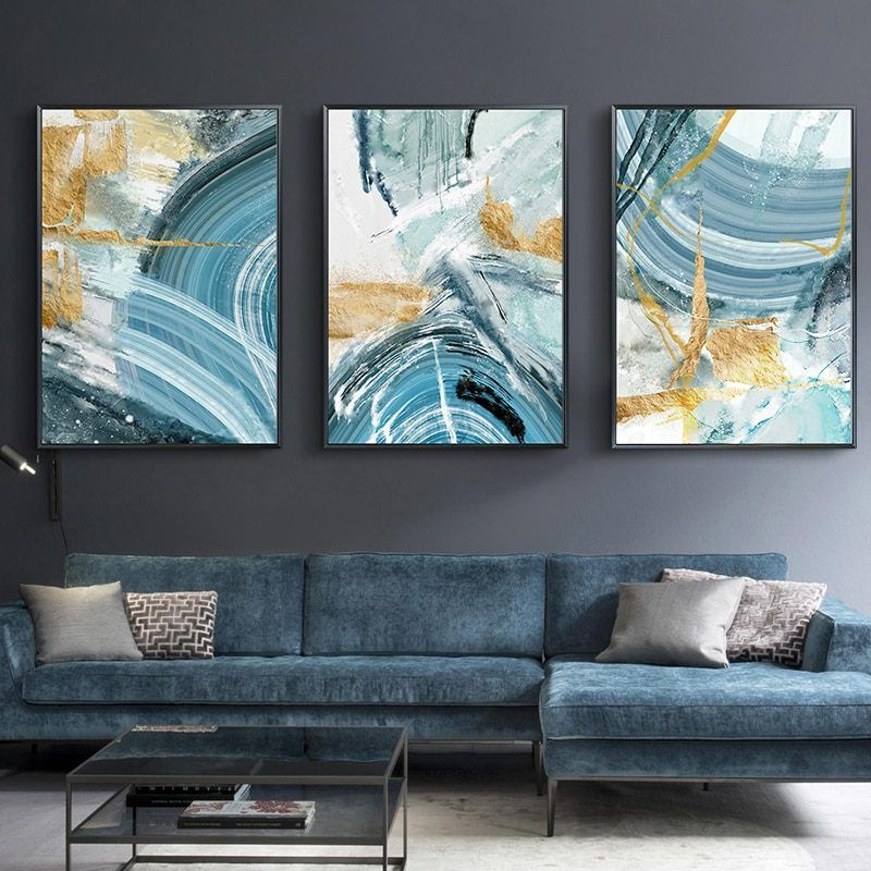 Modern Abstract Canvas Painting Poster And Print For Living Room Blue Bedroom Home Decor Picture Large Wall Art Golden Unframed Large Wall Art Home Decor Pictures Abstract Canvas
