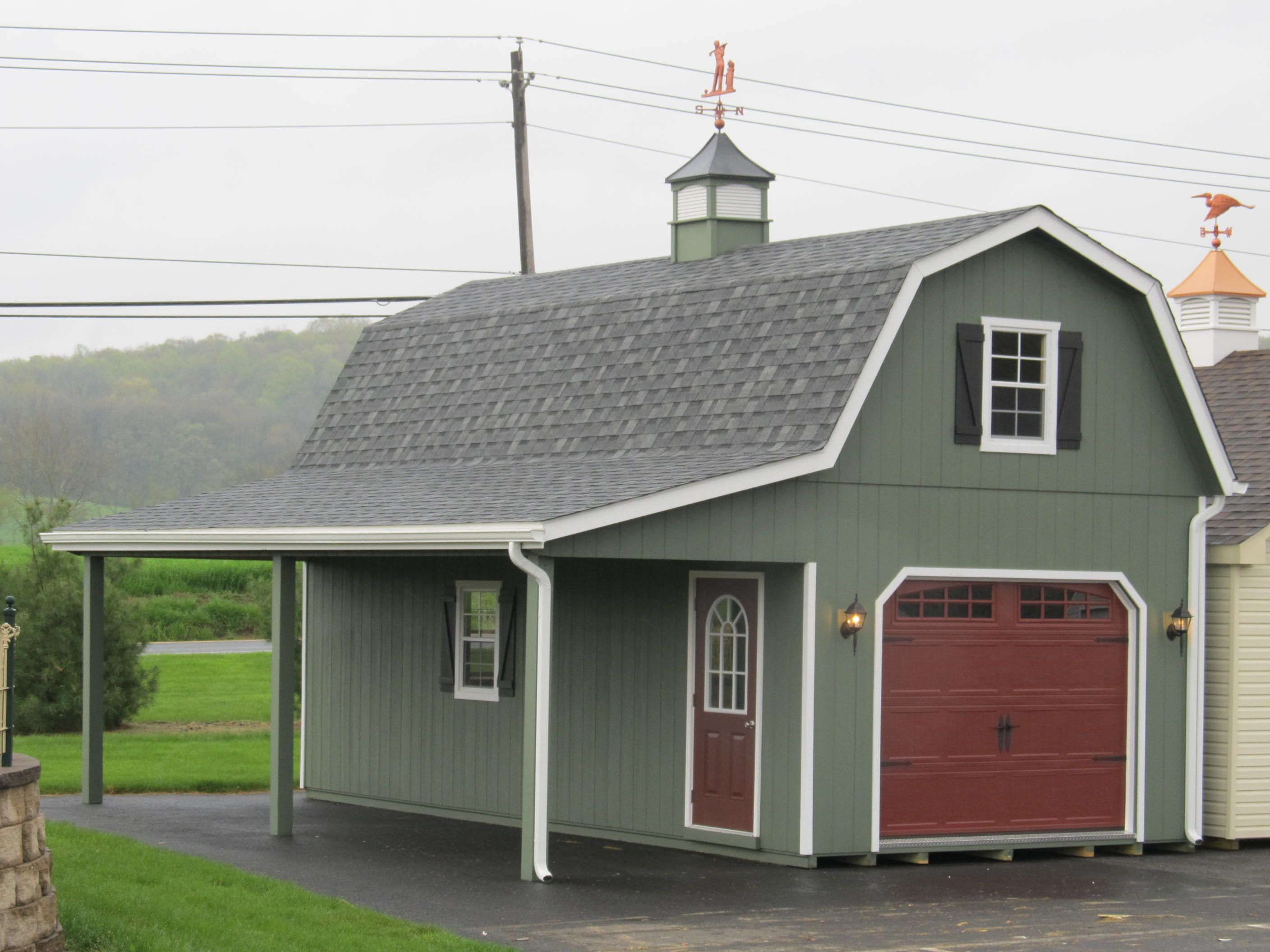 This 14x28 2 story gambrel garage can be designed to your for Double story garage