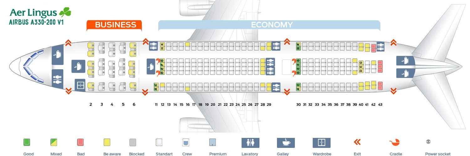 airbus a330 200 seat map Aer Lingus Fleet Airbus A330 200 Details And Pictures Seating airbus a330 200 seat map