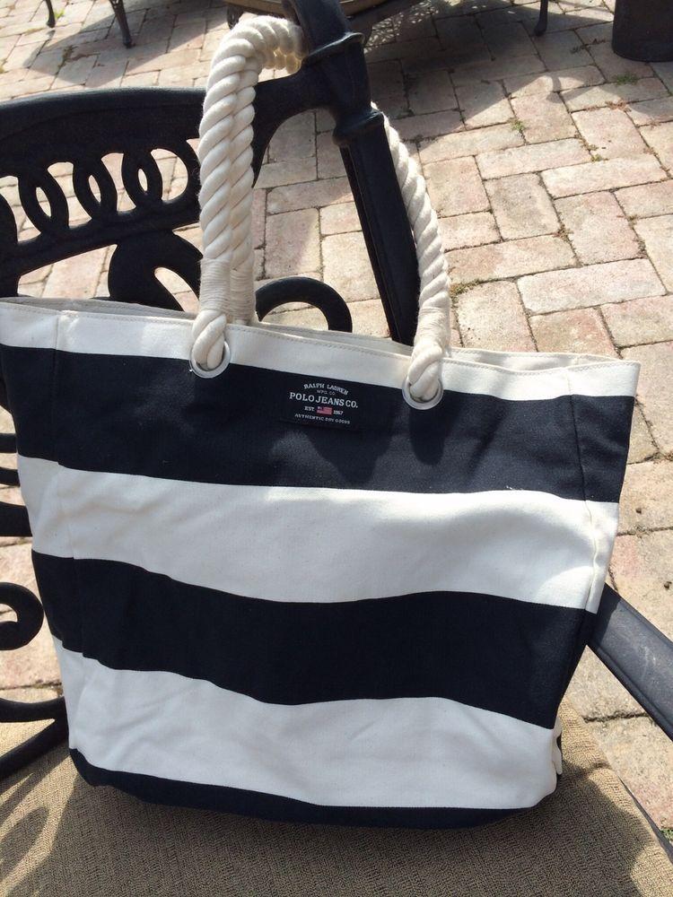c2ac26cb0f Ralph Lauren Polo Black   White Striped Nautical Tote Beach Bag  RalphLauren   ShoulderBag