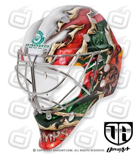 Working together with Dave Gunnarsson from DaveArt, Darcy Kuemper will bring in the 2014-2015 season with some serious bite. It's a crowded crease in Minny, but if on-ice aesthetics have anything to do with the selection process, we're pretty sure Kuemper is a shoe-in for the starting night's roster.