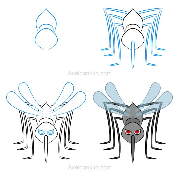 How to draw a mosquito comment dessiner une mouche - Dessin de mouche ...