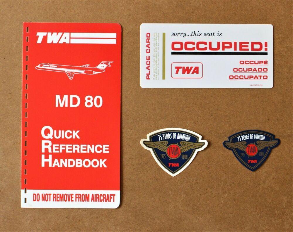 4 Twa Airlines Md 80 Manual Cover 1976 Occupied Seat Card Fridge Magnet Set Lot In 2020 Magnet Set Twa Fridge Magnets
