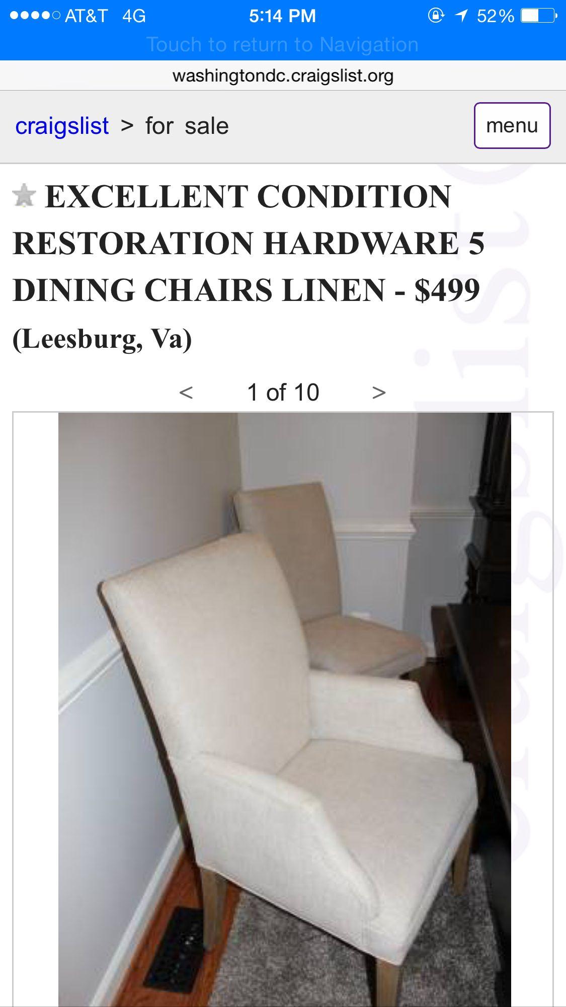 Https Washingtondc Craigslist Org Nva Hsh 5130946913 Html Dining Chairs