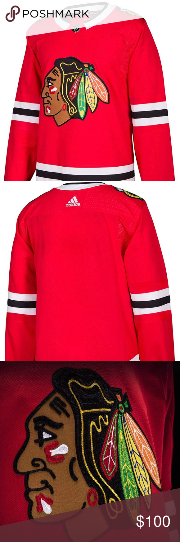 adidas Chicago Blackhawks Authentic Hockey Jersey Show your love for your team every time you wear this Authentic Hockey Jersey. This jersey features the embroidered authentic team crest on the chest, open hole mesh shoulders, platinum NHL Shield on the front neck, authentic tie down fight strap, contrast color piecing on the sleeves and sides, secondary color neck banding, Climalite technology to keep you comfortable.  Officially licensed by the NHL. Size breakdown is as follows: Small = 46, Medium = 50, Large = 52, XL = 54 and XXL =56. adidas Shirts Sweatshirts & Hoodies