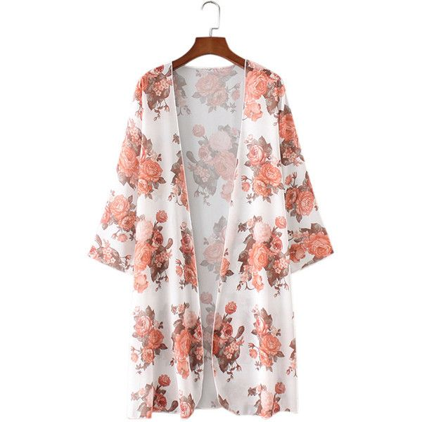 Chiffon Floral Print Loose Half Sleeve Women Cardigan ($18 ...