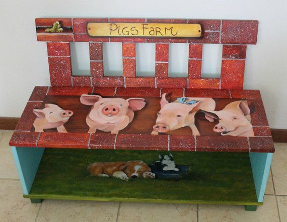 Items similar to Bench storage wooden hand painted for a child room, farm animals on Etsy