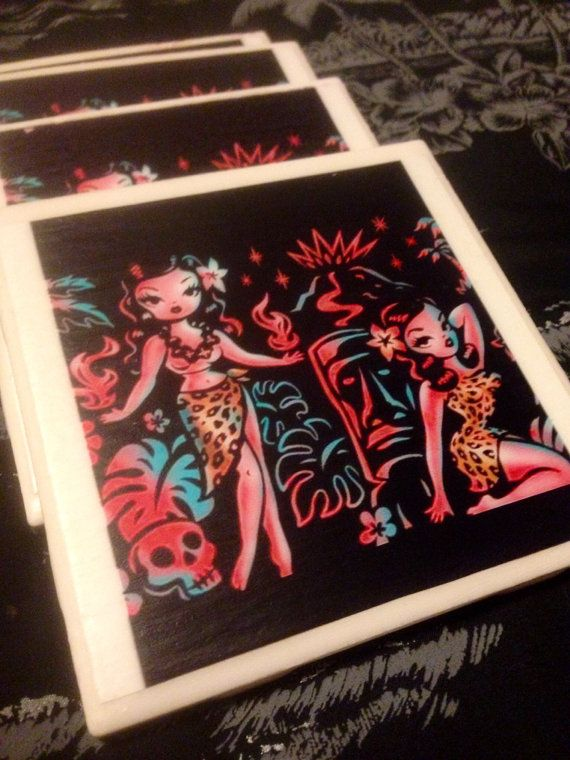 Sale Tiki pinup girls ceramic tile coasters fluff rockabilly volcano skulls on Etsy, $12.00