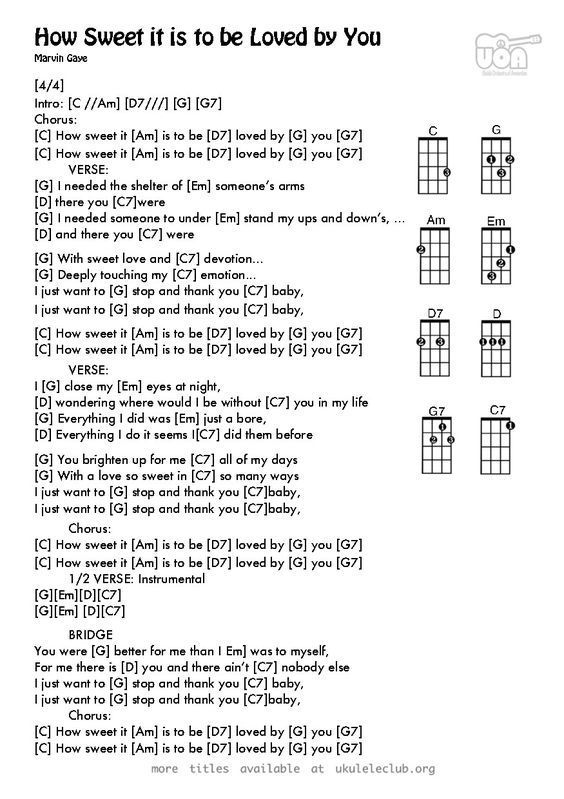 Ukulele Chords How Sweet It Is To Be Loved By You By Holland