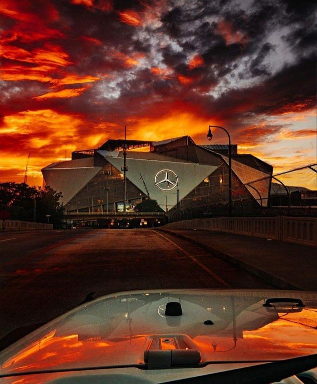 Mercedes Benz Stadium In Atlanta Atlanta Falcons Atlanta Falcons Football Logo Atlanta Falcons Art