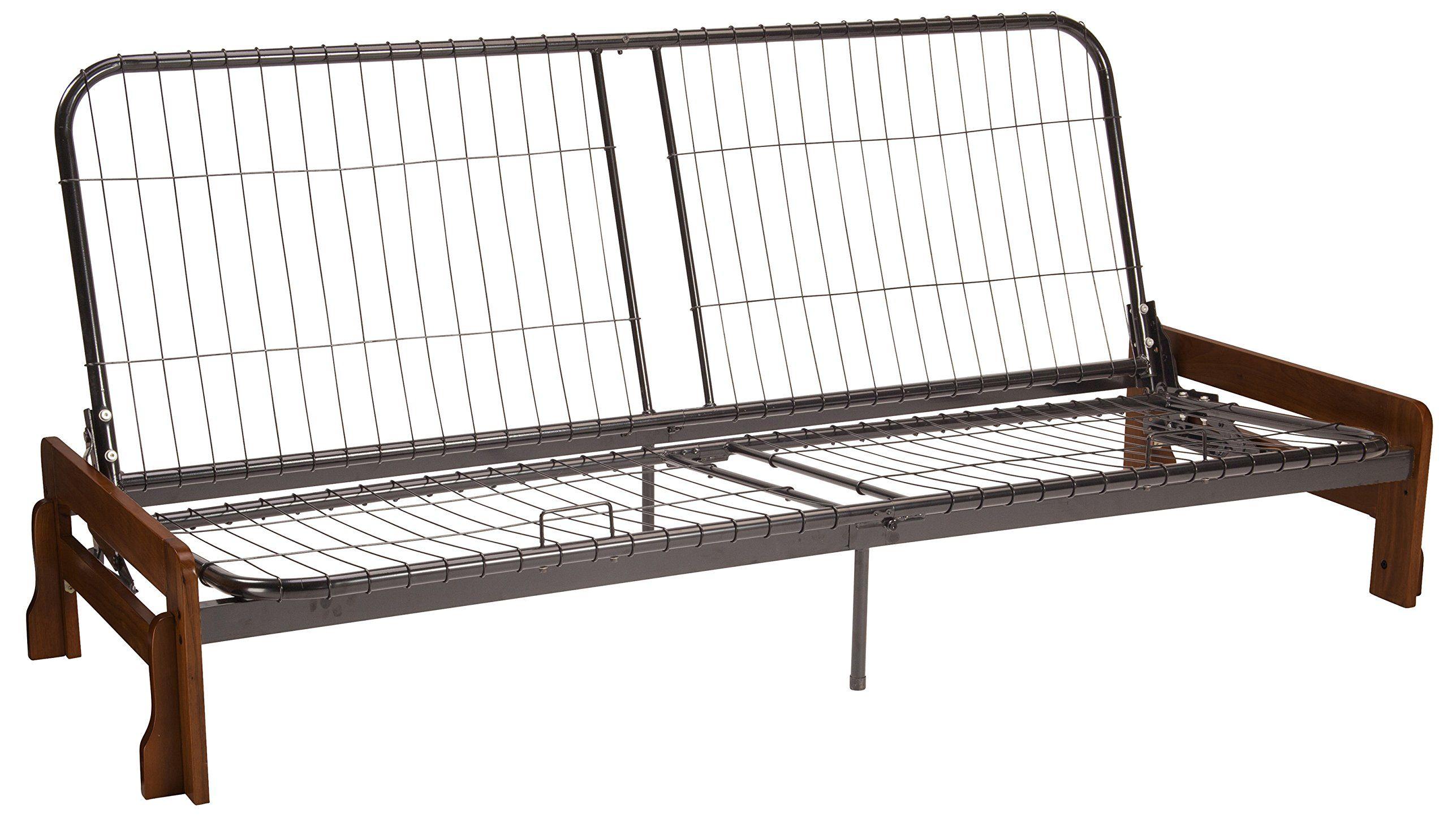 Bali Futon Sofa Sleeper Bed Frame Queensize Walnut Arm Finish