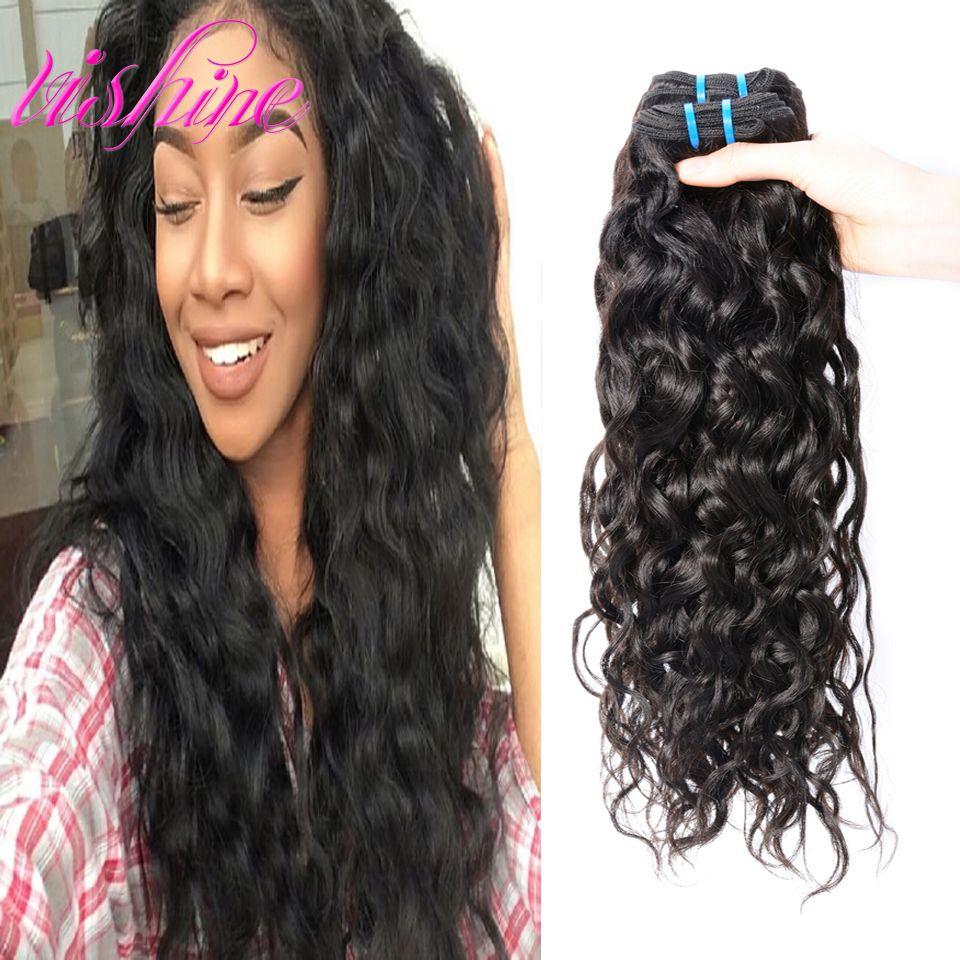Vishine 인도 물 웨이브 처녀 머리 3 번들 인도 처녀 머리 곱슬 직조 인간의 머리 인도 곱슬 처녀 머리 1B 컬러
