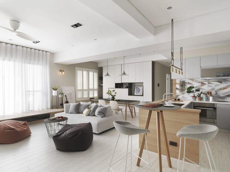 weisses laminat graue schattierungen offenes wohnkonzept küche - Laminat Grau Wohnzimmer
