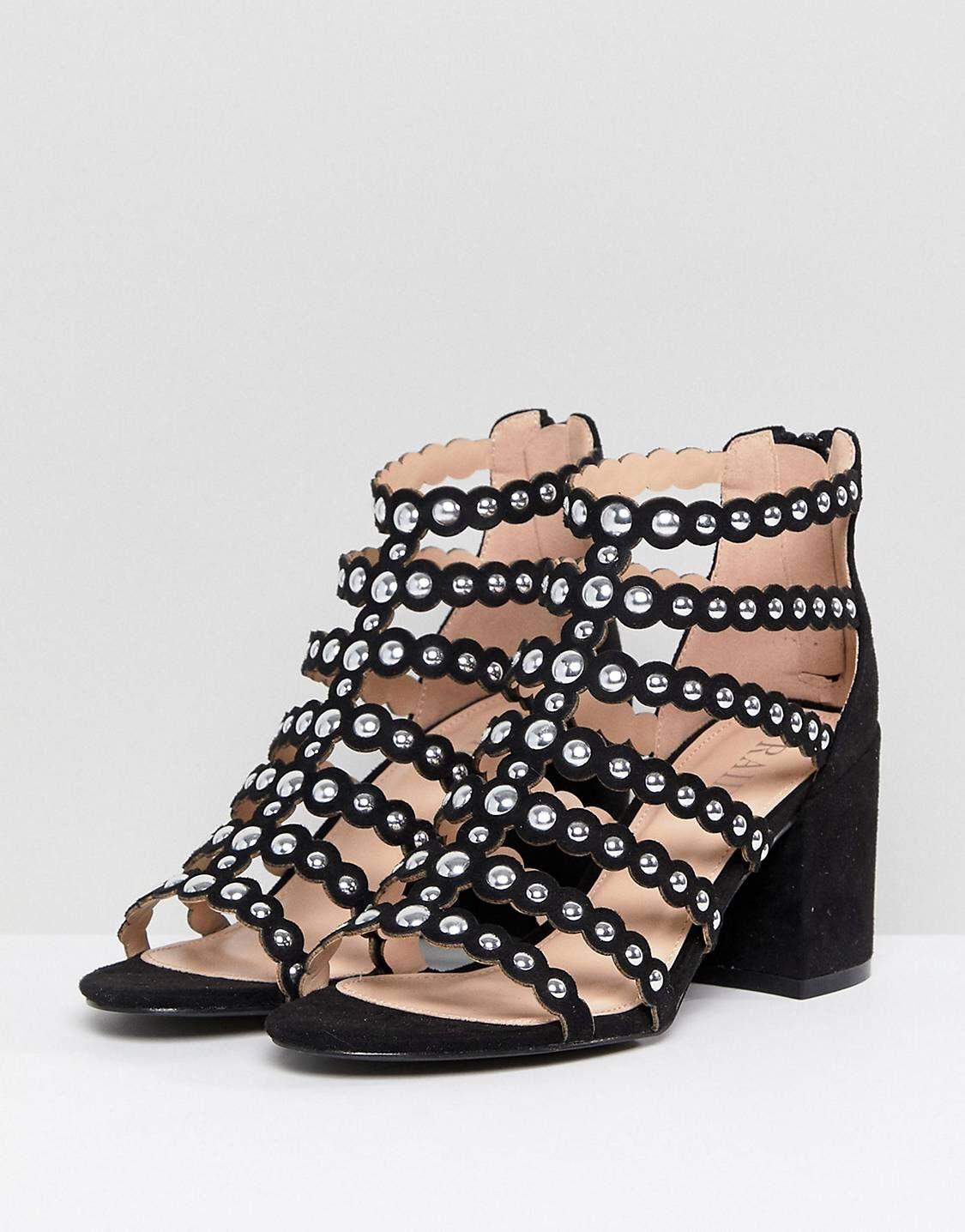 12b8944cad9f Raid Maria Block Heel Studded Sandals Maria Black