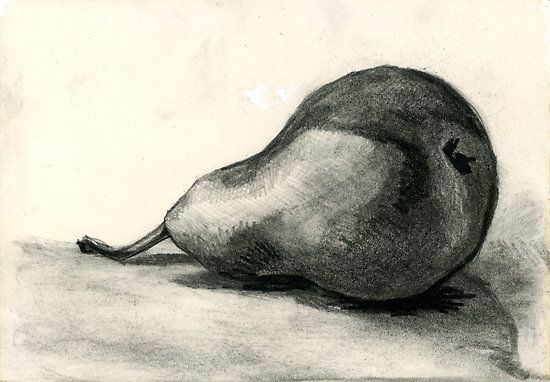 Pear, Charcoal And Pencil Still Life 2 By Emma Brooks