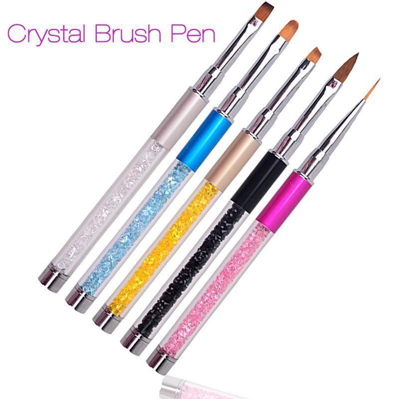 3.11 GBP - Nail Art Brushes Metal Pens Handle Gel Acrylic Liquid ...