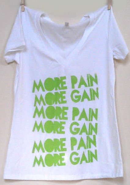 Large White More Pain More Gain Vneck by FittdBrandClothing, $22.00