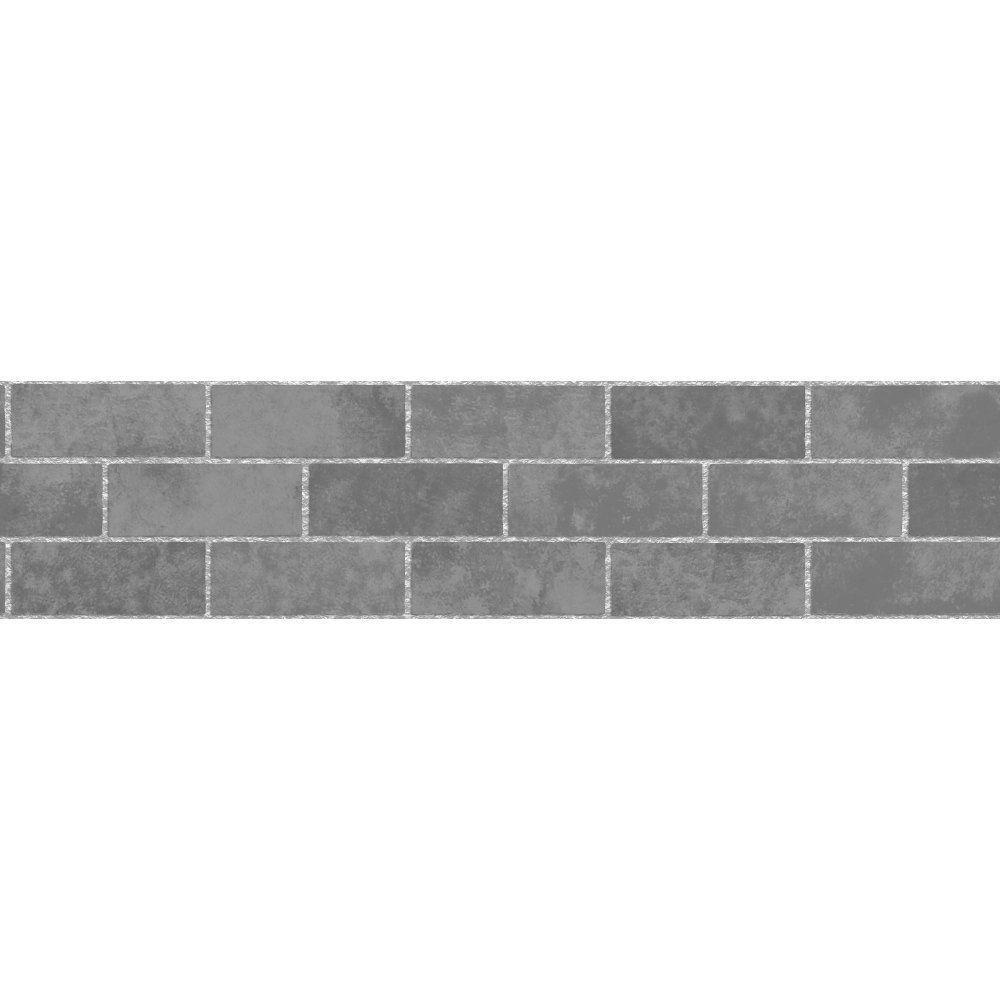 Fine Decor Grey Black Brick Tile Self Adhesive Wallpaper Border Fdb50028 Stone Wallpaper Stone Tiles Stone Tiles Kitchen