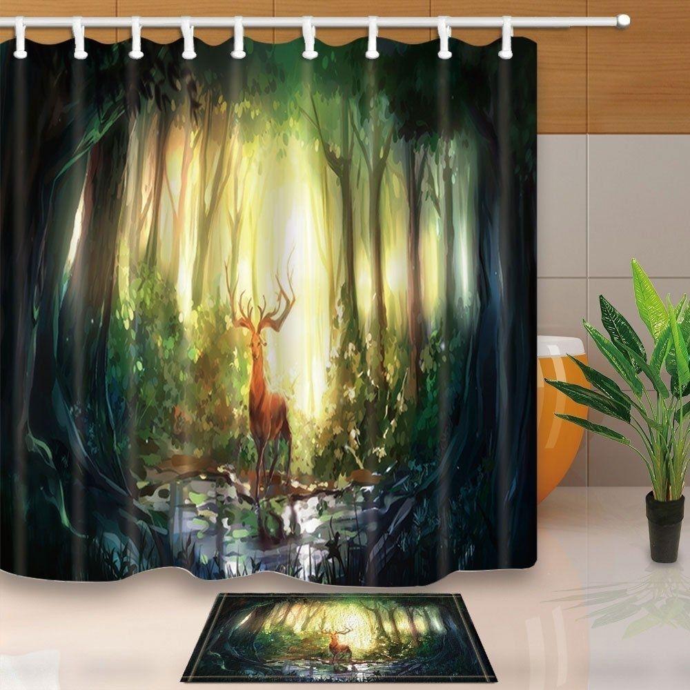 3D Animals Elk Painting Decor Cute Deer in Magic Forest Shower Curtain#animals #curtain #cute #decor #deer #elk #forest #magic #painting #shower