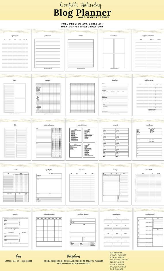 Blog Planner Printable Blog Post Planner Pdf Blogging Kit Editorial
