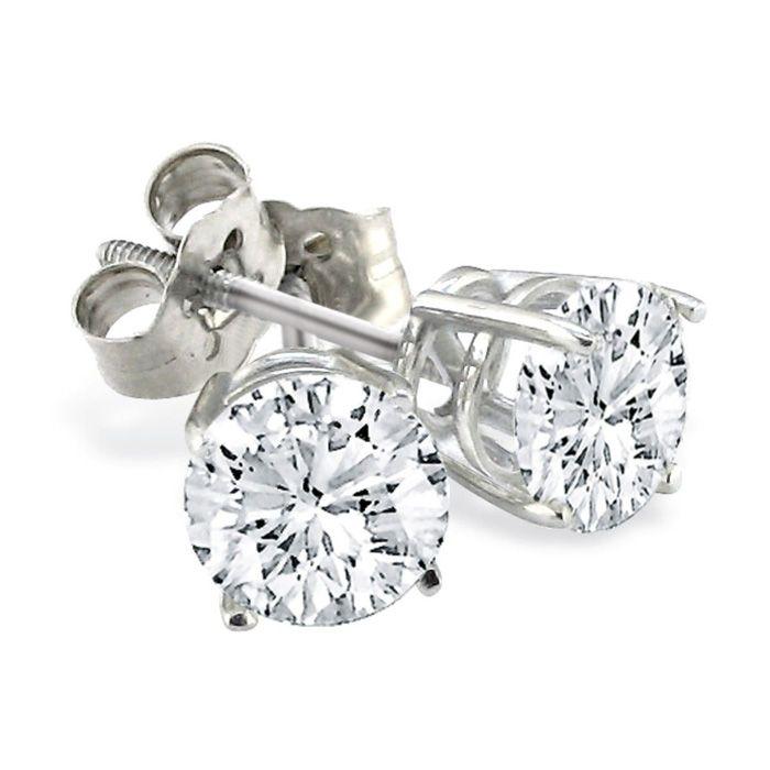 14K White Gold Round Created Blue Diamond Stud Push Back Basket Earrings 3ct