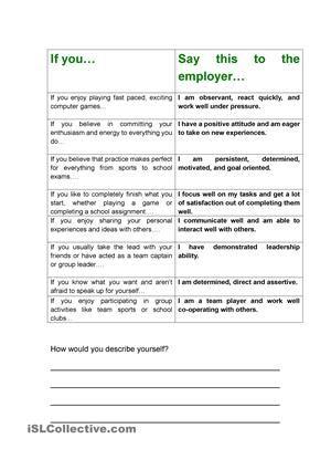 Job Interview \/ CV -  - resume writing worksheet