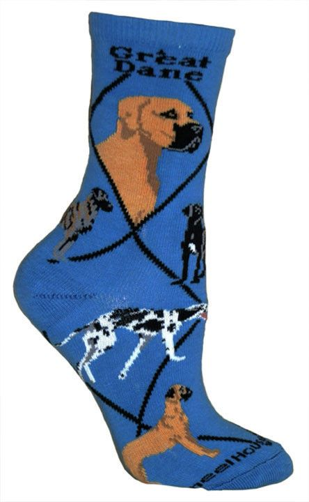 Great Dane Socks On Blue Natural Ears Great Dane Dogs Great