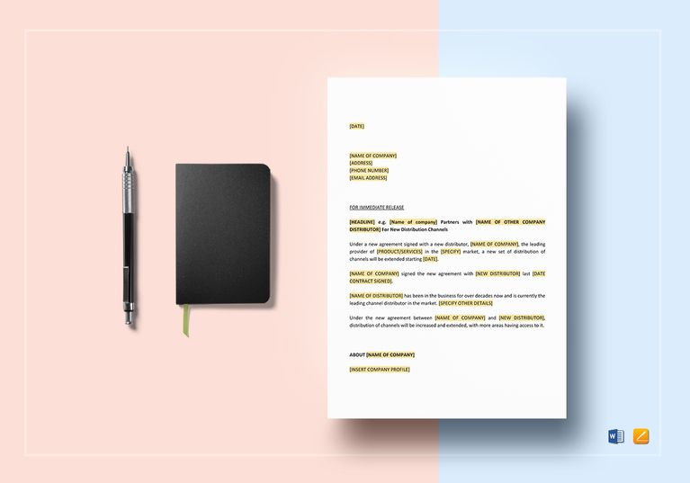 Press Release New Distribution Channel Document Design Templates - blank memo template