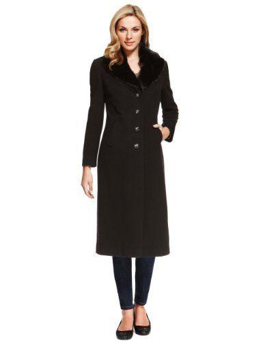 Wool Blend Faux Fur Collar Coat with Cashmere   M&S   Faux