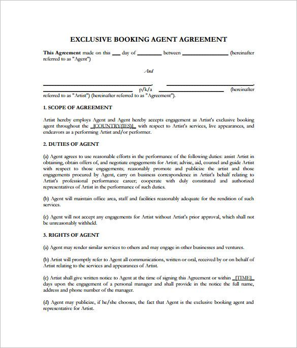 8 Booking Agent Contract Templates Free Word Pdf Documents