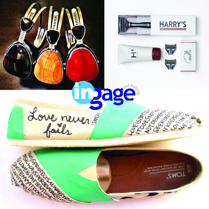 Here are 10 Holiday gifts with a social purpose. Giving a gift that supports more than one person.     -LSTN head phones. Portion of its profits go to the Starkey Foundation.    -Harry's Razors provides a luxury razor as well as donates 1% of its profits to City Year's N.Y. chapter,     -Toms shoes are comfy and stylish and Toms promises to give a child in need for every pair of shoes purchased.    #ingageurbiz #giveback #givingback #holidaygifts #support #charities #donation #getinvolved.